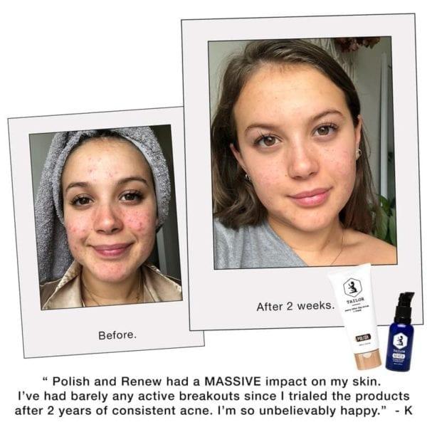 Tailor Skincare renew & polish results
